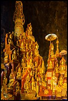 Many buddha images surround main stupa in Pindaya Caves. Pindaya, Myanmar ( color)