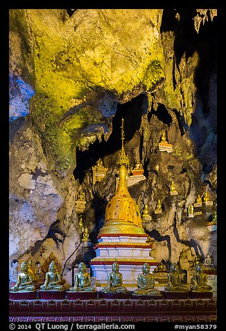 Cavern in the interior of Pindaya Caves. Pindaya, Myanmar (color)