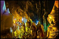 Buddha statues and stalactites in Pindaya Caves. Pindaya, Myanmar ( color)