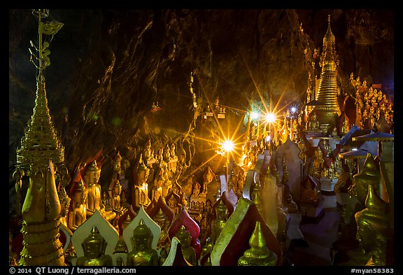 Stupas and buddha images in Pindaya Cave. Pindaya, Myanmar (color)