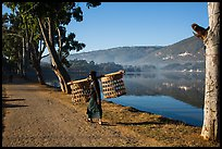 Man carrying baskets on road near Pone Tanoke Lake. Pindaya, Myanmar ( color)