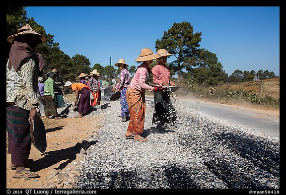 Women doing road construction work. Shan state, Myanmar (color)