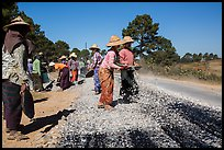 Women doing road construction work. Shan state, Myanmar ( color)