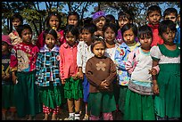 Group of schoolchildren, Nyaung Shwe,. Inle Lake, Myanmar ( color)