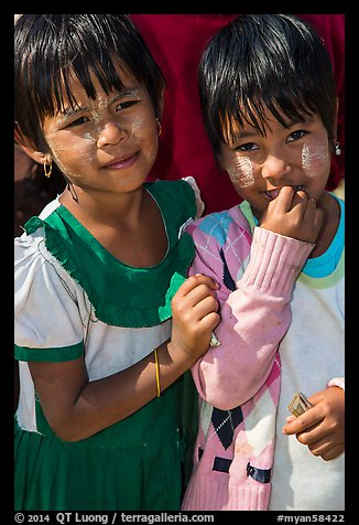 Two young friends, Nyaung Shwe. Inle Lake, Myanmar (color)