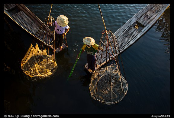 Intha fishermen with conical baskets seen from above. Inle Lake, Myanmar (color)