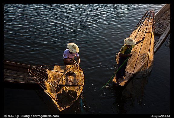 Above view of Intha fishermen. Inle Lake, Myanmar (color)
