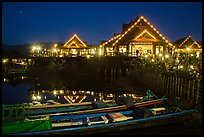 Entrance of Myanmar Treasure Resort at night. Inle Lake, Myanmar ( color)