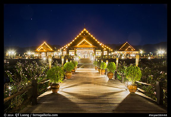 Main deck of Myanmar Treasure Resort at night. Inle Lake, Myanmar (color)