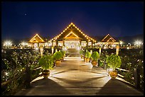 Main deck of Myanmar Treasure Resort at night. Inle Lake, Myanmar ( color)