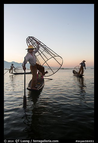 Group of Intha fishermen at dawn. Inle Lake, Myanmar (color)