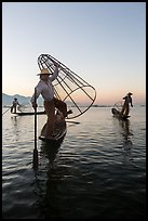 Group of Intha fishermen at dawn. Inle Lake, Myanmar ( color)