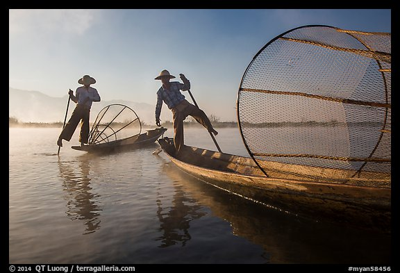 Two Intha fishermen. Inle Lake, Myanmar (color)