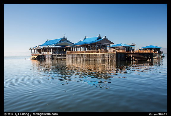 Restaurant built on stilts in middle of lake. Inle Lake, Myanmar (color)