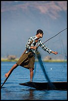 Intha fisherman gathering net. Inle Lake, Myanmar ( color)