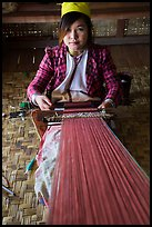 Young padaung woman weaving. Inle Lake, Myanmar ( color)