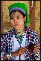 Kayan woman of the Padaung tribe wearing brass neck coils. Inle Lake, Myanmar ( color)