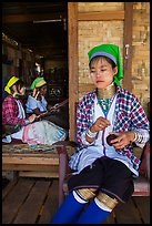 Kayan women at Win Yadanar workshop, Ywama Village. Inle Lake, Myanmar ( color)
