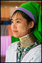 Kayan Padaung woman with neck rings. Inle Lake, Myanmar ( color)