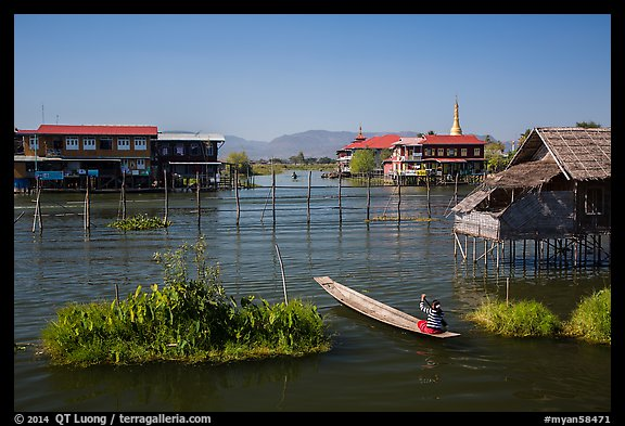Canal intersection. Inle Lake, Myanmar (color)