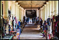 Covered walkway to Shwe Indein Pagoda lined up with vendors in 2014. Inle Lake, Myanmar ( color)