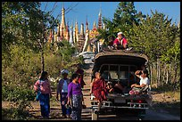 Villagers and truck near Shwe Indein Pagoda. Inle Lake, Myanmar ( color)