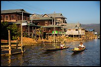 Houses on stilts in Ywama Village. Inle Lake, Myanmar ( color)