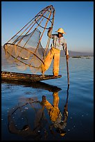 Intha fisherman with freshly caught fish in basket. Inle Lake, Myanmar ( color)