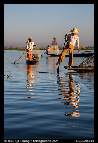 Intha fishermen and reflections. Inle Lake, Myanmar (color)