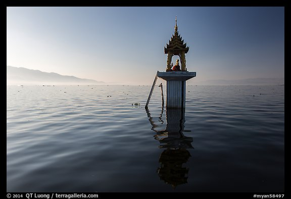 Shrine in the middle of the lake. Inle Lake, Myanmar (color)