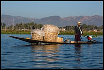 Man transporting baskets on boat. Inle Lake, Myanmar ( color)