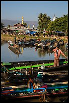 Parked boats and market. Inle Lake, Myanmar ( color)