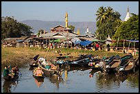 Villagers arriving by boat at market. Inle Lake, Myanmar ( color)