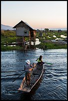 Children rowing across canal towards floating gardens, Maing Thauk Village. Inle Lake, Myanmar ( color)