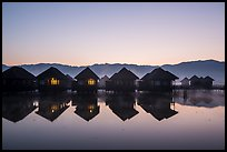 Cottages on stilts at dawn. Inle Lake, Myanmar ( color)