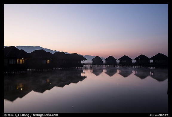 Resort cottages at dawn. Inle Lake, Myanmar (color)