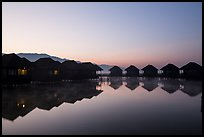 Resort cottages at dawn. Inle Lake, Myanmar ( color)