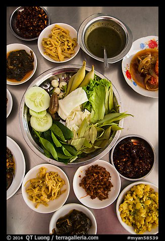 Close-up of Burmese meal. Bago, Myanmar (color)