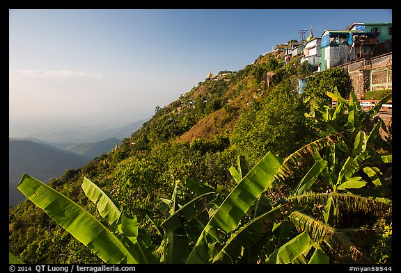 Kelasa Hilltop with golden rock in the distance. Kyaiktiyo, Myanmar (color)