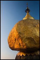 Golden Rock and Kyaiktiyo Pagoda at sunset. Kyaiktiyo, Myanmar ( color)