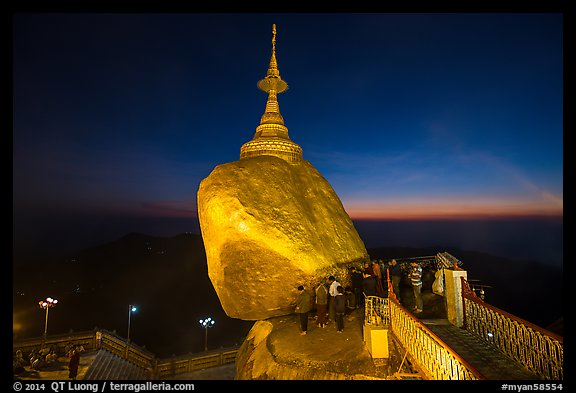 Bridge to the Golden rock with last light on horizon. Kyaiktiyo, Myanmar (color)