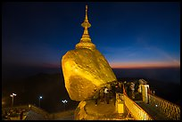Bridge to the Golden rock with last light on horizon. Kyaiktiyo, Myanmar ( color)