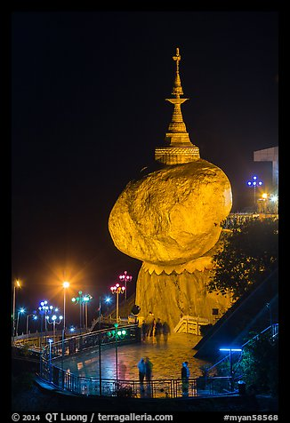 Golden Rock at night. Kyaiktiyo, Myanmar (color)