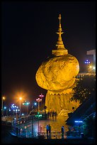 Golden Rock at night. Kyaiktiyo, Myanmar ( color)