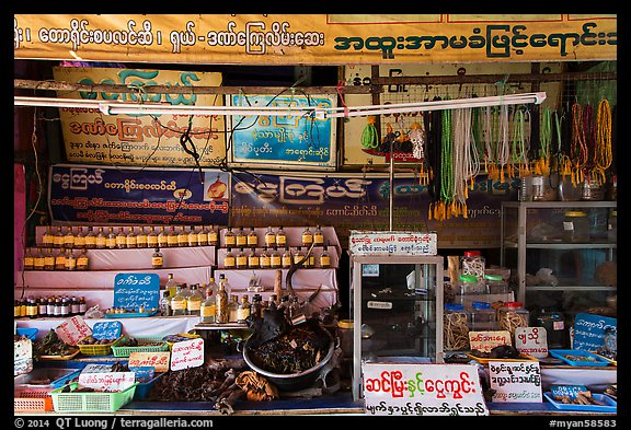Medicinal shop on the path to the Golden Rock. Kyaiktiyo, Myanmar (color)
