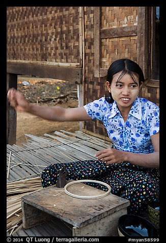 Woman making a lacquer bowl,  Mingun village. Bagan, Myanmar (color)
