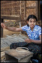 Woman making a lacquer bowl,  Mingun village. Bagan, Myanmar ( color)