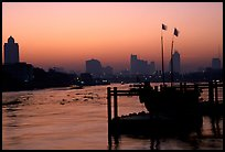 Sunset over Chao Phraya river. Bangkok, Thailand ( color)