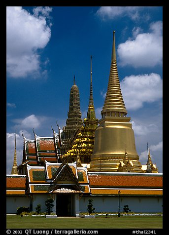 Wat Phra Kaew, adjacent to the Grand Palace, home of the most venerated emerald Buddha. Bangkok, Thailand (color)