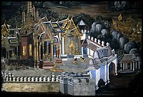 Mural painting showing the Grand Palace. Bangkok, Thailand ( color)